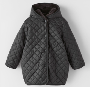 Black reversible puffer and faux fur coat