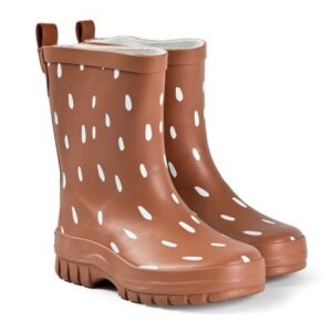 Brown dots rain boots