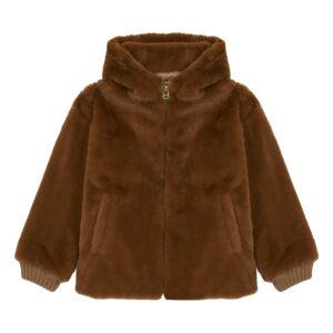Brown faux fur hooded coat