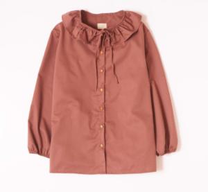 Dusty pink ruffle maternity blouse