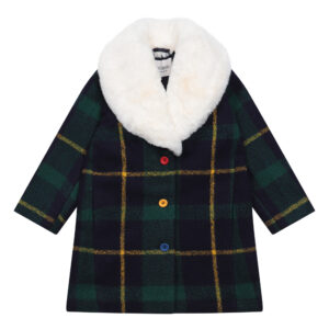 Green check coat with faux fur collar