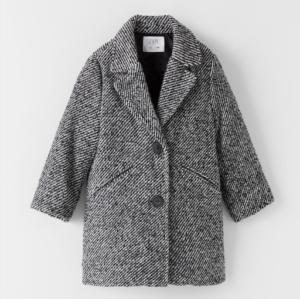 Grey textured collar coat