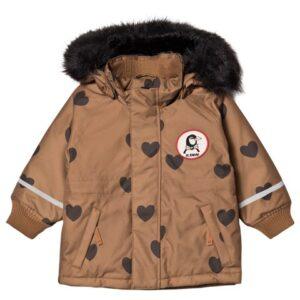 Heart print winter coat