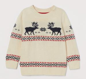 Beige reindeer jacquard jumper