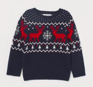 Navy jacquard reindeer jumper
