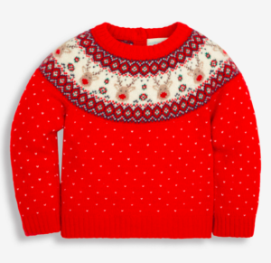 Red fair isle reindeer jumper