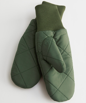 Khaki quilted mittens
