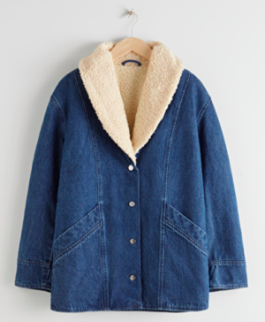 Denim shearling collar coat