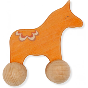wooden rolling horse toy
