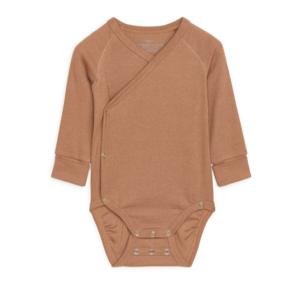 Beige rib wrap baby bodysuit