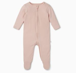 Blush ribbed zip-up sleepsuit