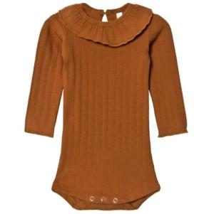 Brown frill collar rib bodysuit