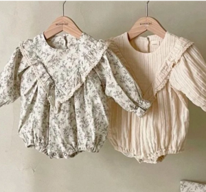 MonBebe frill floral rompers