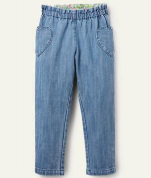 Girls pull on heart jeans