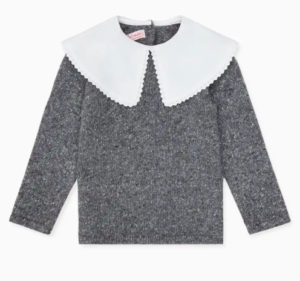 Grey knit jumper with white collar