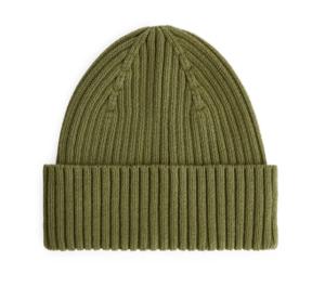 Khaki rib knit beanie