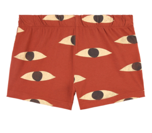 Brown printed kids shorts