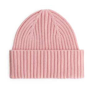 Pink rib knit beanie hat