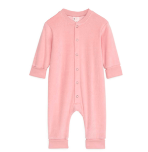 Pink velour baby overall