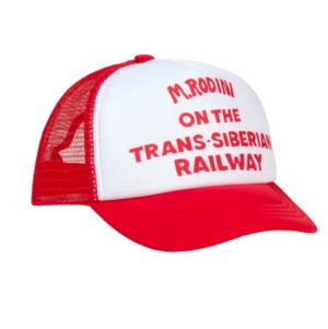 Red trucker cap