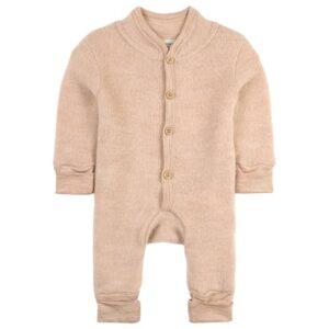 Beige wool fleece babygrow