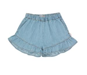 denim frill shorts