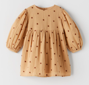 Textured polka dot dress