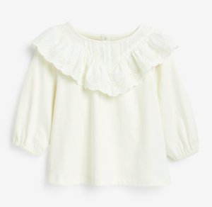 Broderie collar frill blouse