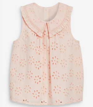 Pink broderie collar blouse