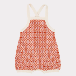 Red retro knit baby romper