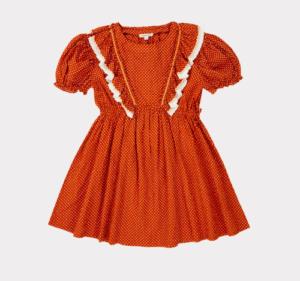 Rust dot ruffle dress