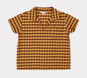 Mustard check retro kids shirt